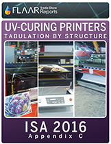 How many kinds of UV-cured printers were at ISA By brand, and by Model.